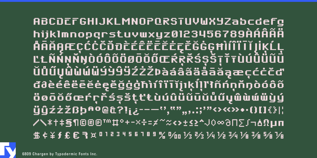 6809 Chargen typeface sample from Typodermic Fonts Inc.