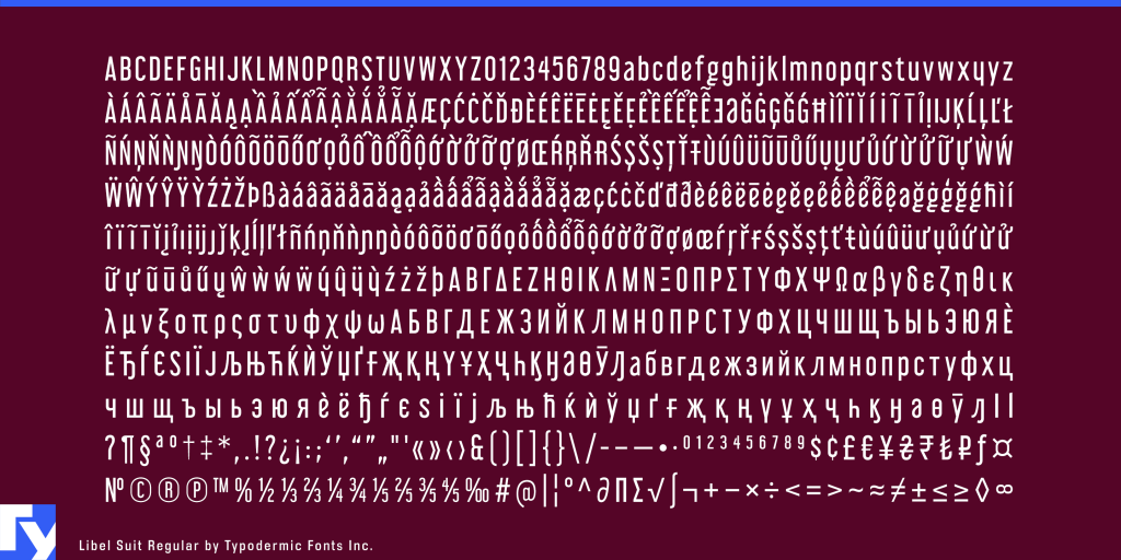 Libel Suit typeface sample from Typodermic Fonts Inc.
