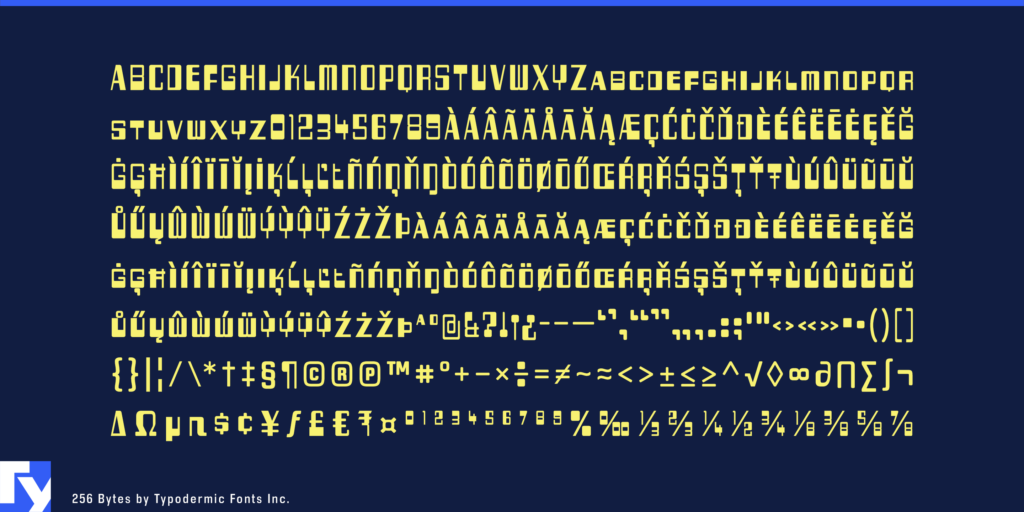 256 Bytes typeface sample from Typodermic Fonts Inc.