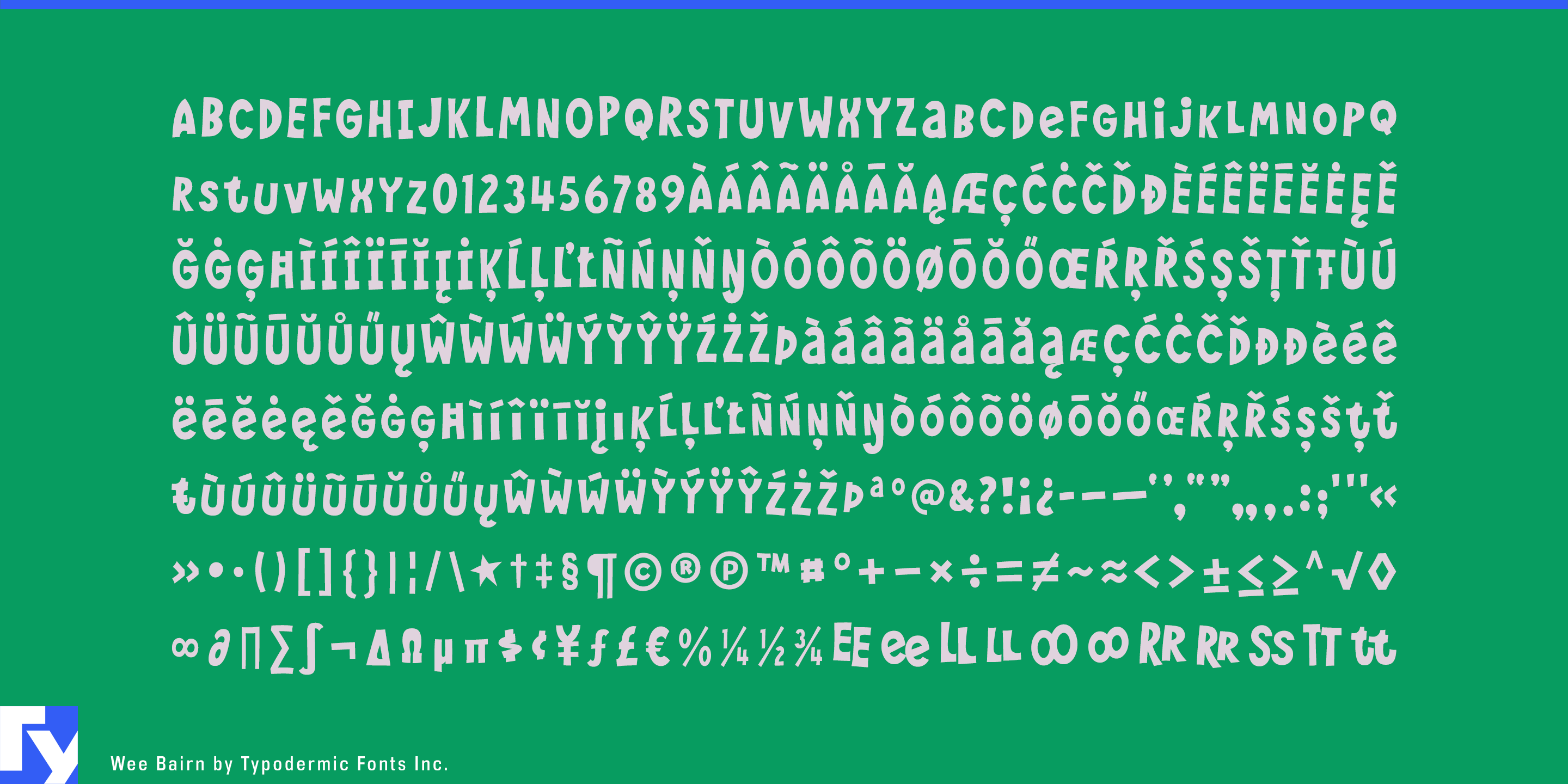 Wee Bairn typeface sample from Typodermic Fonts Inc.