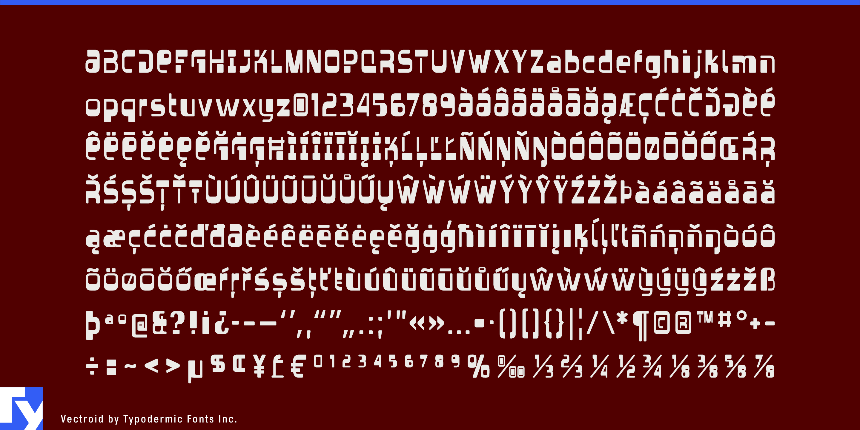 Vectroid typeface sample from Typodermic Fonts Inc.