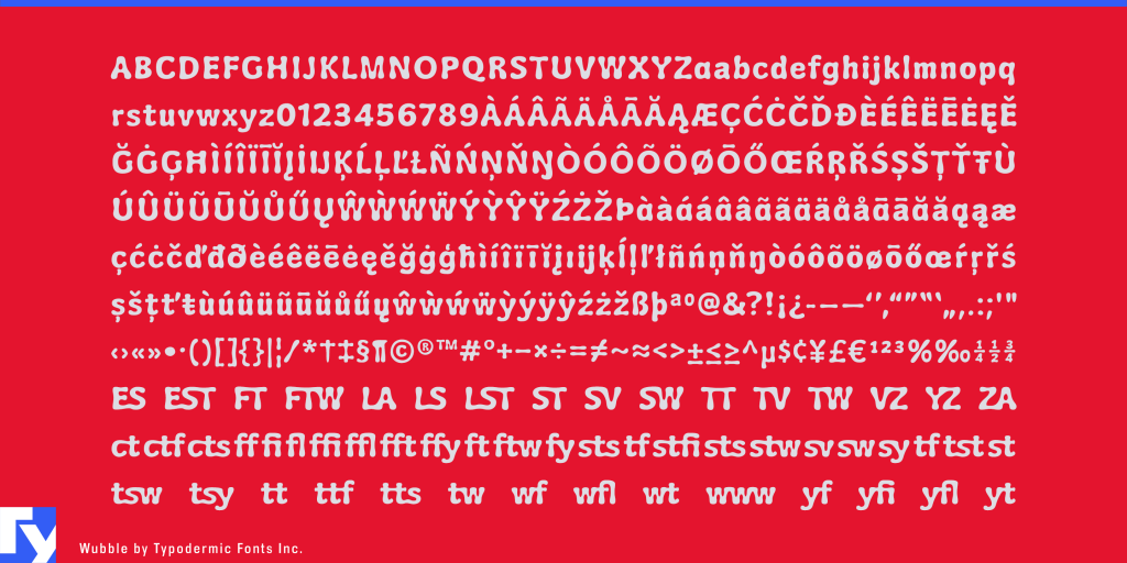 Wubble typeface sample from Typodermic Fonts Inc.