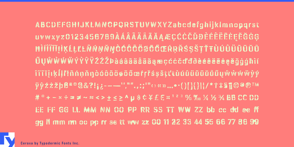 Ceroxa typeface sample from Typodermic Fonts Inc.