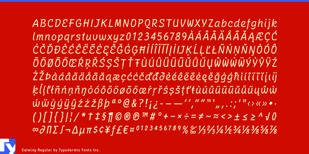 Catwing typeface sample from Typodermic Fonts Inc.