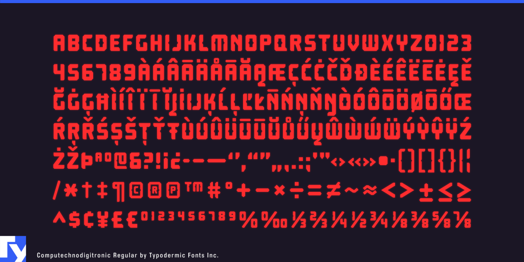 Computechnodigitronic typeface sample from Typodermic Fonts Inc.