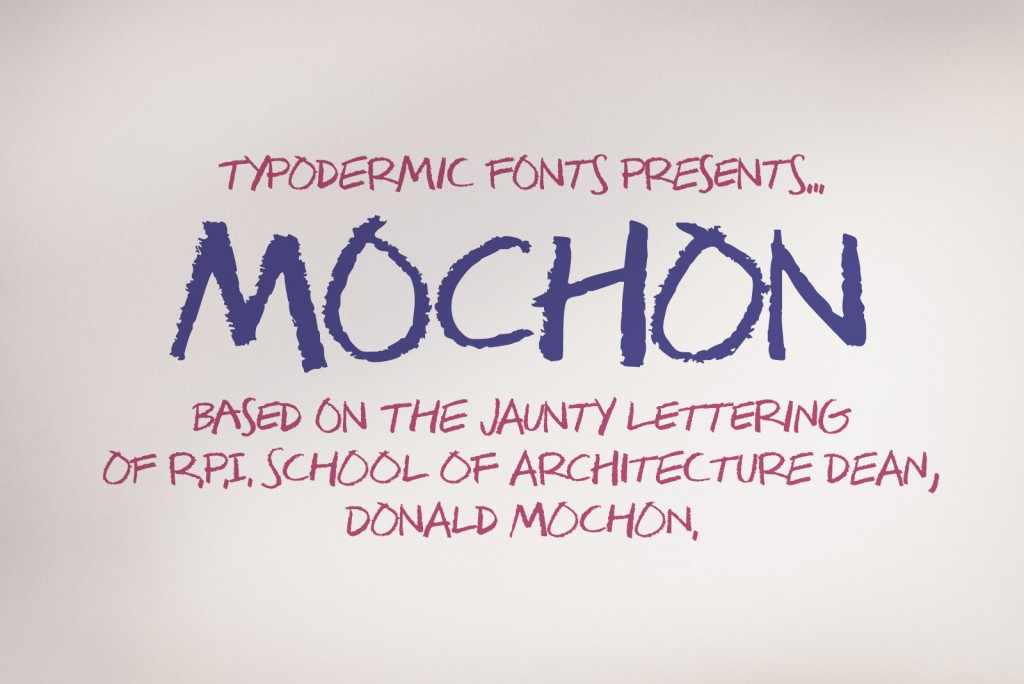 Mochon's Lettering typeface sample from Typodermic Fonts Inc.