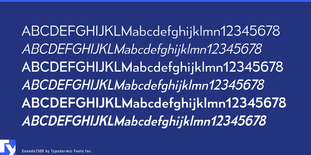 Canada1500 typeface sample from Typodermic Fonts Inc.